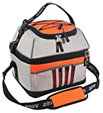 30 can cooler - MIER 30 Can Cooler Bag Large Insulated Picnic Lunch Tote Bag, Square Cooler with leakproof liner, Grey