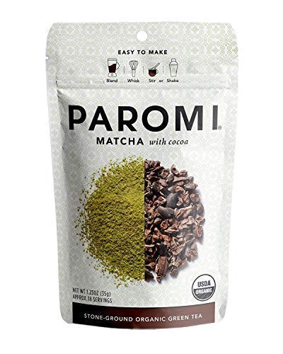 - Paromi Tea Matcha With Cocoa 1.23 Oz, Organic Stone-Ground Organic Green Tea with Organic Cocoa, Serve Hot or Iced, Blend, Whisk, Stir, or Shake into Water or Milk