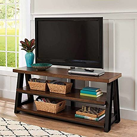 3 In 1 Brown TV Stand For TVs Up To 70 Up To 135 Lbs With Brown Ash Veneer Shelves Featuring Hand Finished Metal Frame