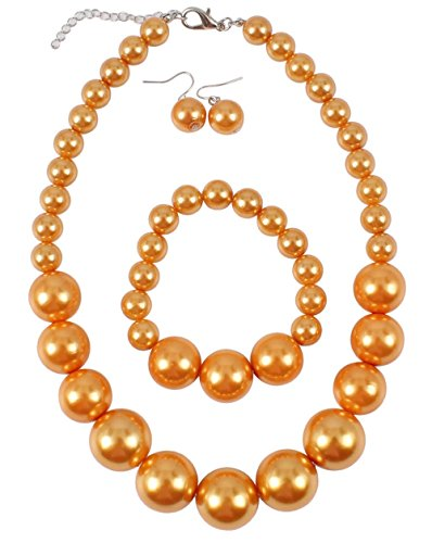 Shineland Simple Large Big Simulated Pearl Statement Necklace Bracelet and Earrings Jewelry Set (Orange)