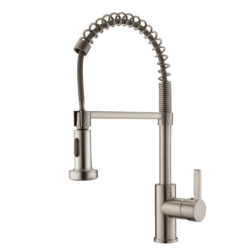 APPASO K105-BN Commercial Spring Kitchen Faucet with Pull Down Sprayer Stainless Steel Brushed Nickel, High Arc Tall Modern Single Handle Kitchen Sink Faucet with Pull Out Spray Head