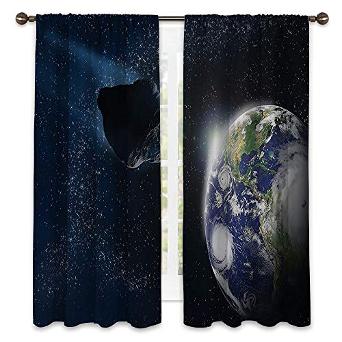SATVSHOP Waterproof Window Curtain- 72W x 108L - Draperies for Bedroom.Galaxy Attack of The Asteroid ocky Body Comet on Planet Earth Meteor Shower Display Dark Blue Grey.]()