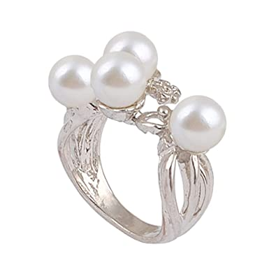 Sticks Forma Rama perlas joyas Anillos de boda joyería de ...
