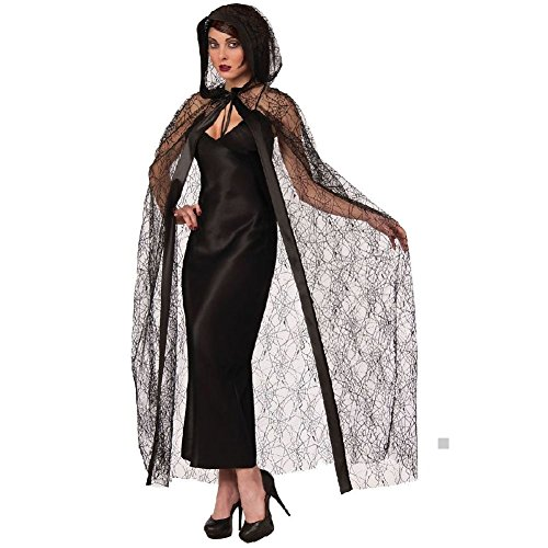 Cruella Deville Coat Costume (Hooded Spider Web Cape Costume Accessory Adult)