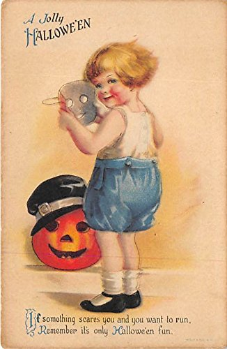 Artist Ellen Clapsaddle, Wolf Trademark Halloween Postcard Old Vintage Post Card -