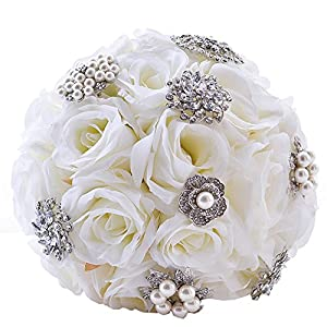 S-SSOY Wedding Bouquet, Creamy White Bridesmaid Holding Bouquet Bride Bridal Artificial Rose Bouquets with Diamond Pearl Soft Ribbon for Wedding Party Church Valentine's Day Birthday Photo Shooting 90