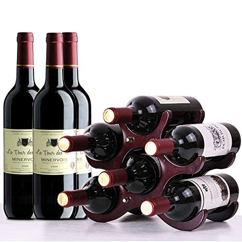 HILELIFE Wine Rack – Wine Holder, Wine Racks Countertop, Wine Bottle Holder, 6 Bottles Wine Racks, Wine Holders Stands, Classic Countertop Wine Rack, Elegant Wine Decor for Home Kitchen