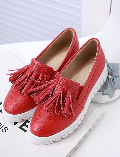 ZQ gyht Zapatos de mujer - Plataforma - Plataforma / Punta Redonda - Mocasines - Exterior / Vestido / Casual - Semicuero -Negro / Rojo / Blanco / , red-us10.5 / eu42 / uk8.5 / cn43 , red-us10.5 / eu42 black-us6.5-7 / eu37 / uk4.5-5 / cn37
