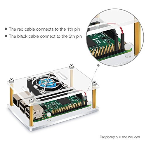 Raspberry Pi 3 Case Acrylic Protective Cover & Cooling Fan & Micro USB Power Supply 5V 2.5A With 3PCS Copper Heatsink 4 in 1 Professional Kit for Raspberry Pi by OBDOK (Image #6)