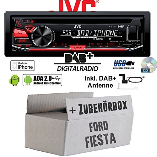 Ford Fiesta - JVC KD-DB67 - DAB+ USB Autoradio inkl. DAB+ Digitalradio Antenne - Einbauset JUST SOUND best choice for caraudio KD-DB67+Ant