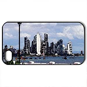 French Riviera - Case Cover for iPhone 4 and 4s (Watercolor style, Black)