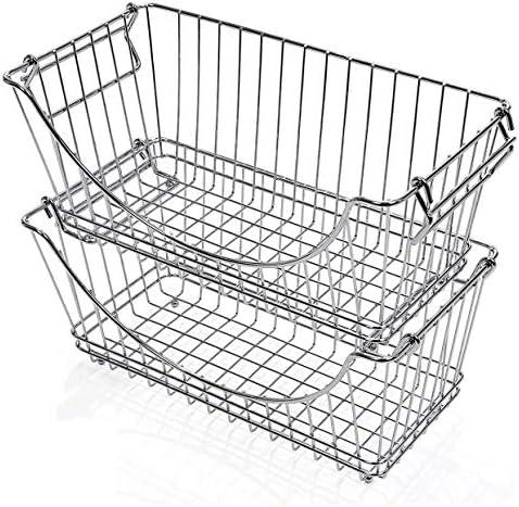 Smart Design Stacking Baskets Organizer w/ Handle – Medium – Steel – for Food, Fruit, & Vegetable Safe – Kitchen (12.63 x 5.5 Inch) [Chrome] (2 Pack)