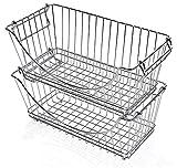 Smart Design Stacking Baskets Organizer w/Handle - Medium - Steel Metal - Food, Fruit, Vegetable Safe - Kitchen (12.63 x 5.5 Inch) [Chrome] (2 Pack)