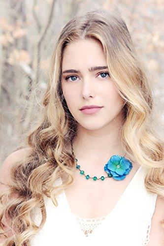 (peacock velvet hydrangea with teal crystal asymmetrical necklace )