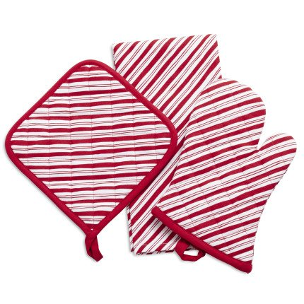 (Sur La Table Peppermint Stripe 3-Piece Linens Gift Set 6260516 PRN)