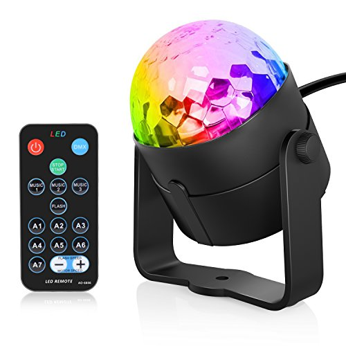 Sunnest 3W Stage Disco Lights, LED Party Lights Sound Activated with RGB Rotating Disco Ball Remote Controller for Home Bar Wedding Dance Parties, 7 Lighting Color & 3 Modes ()