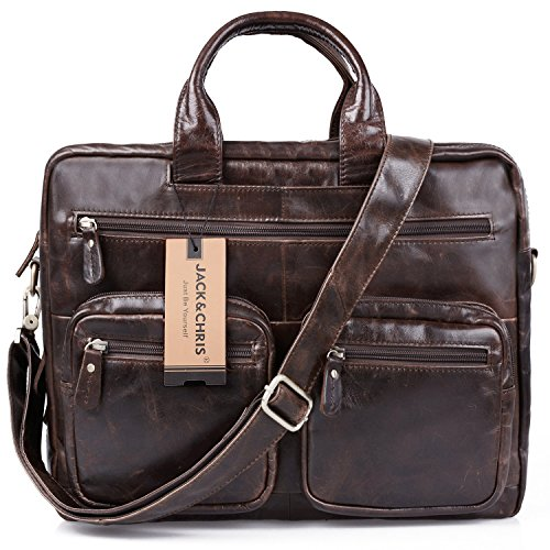 Jack&Chris® Men's Briefcase Laptop Bag Messenger Shoulder Leather Bag,NM7231-B