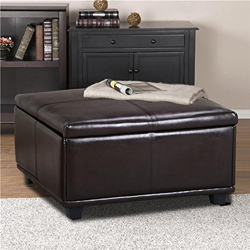 Yaheetech Large Square Faux Leather Ottoman Storage Table Upholstered Bench Brown - Accents Express Tray Table