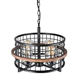 Giluta Orb Wood Metal Chandelier with Seeded Glass Shade, Kitchen Island Pendant Lamp Industrial Edison Hanging Light Dining Room Vintage Ceiling Light Fixture 4-Lights, Black (C0050)
