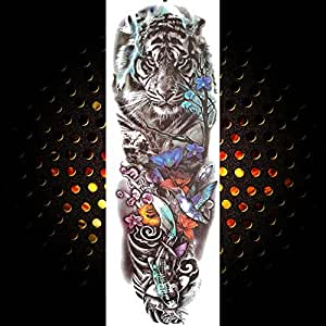 3pcsFull Flower Arm Men and Women Tattoo Rose Tiger Tatoos Long ...