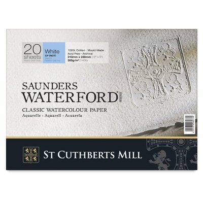Legion Saunders Waterford Watercolor Block, 140lb. Cold Press, 9 X 12 inches, White, 20 Sheets (I98-SWB140CP912)