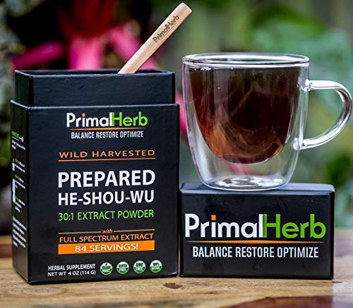 He Shou Wu Fo ti Root Extract Powder - by Primal Herb | Longevity Tea - Supports Hair Growth & Glowing Skin | Organic Potent 30:1-84 Servings - Aged Roots | Includes Bamboo Spoon by Primal Herb (Image #2)