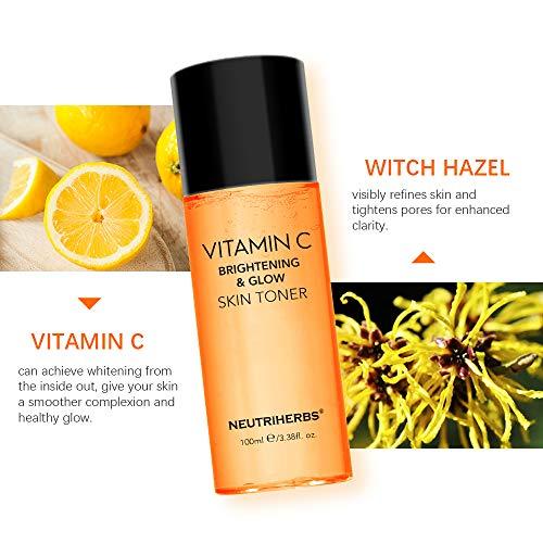 Vitamin C Toner for Face Neutriherbs Alcohol Free Facial Toner with Aloe Vera Witch Hazel to Cleanse Moisturize Smooth Balance Skin Care 100ml