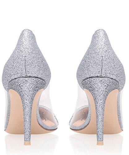 Soirée Chaussure Taille Glitter Stiletto Talon Femme EDEFS À Sandales Escarpins Enfiler Aiguille Transparent FCqdfw0