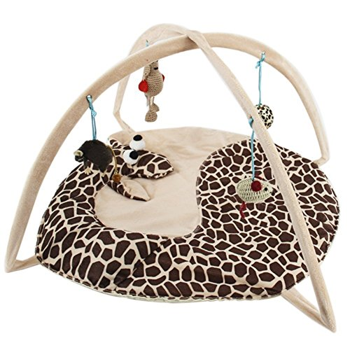 Totoo Cat Activity Center with Hanging Toy Balls, Mice & More - Helps Cats Get Exercise & Stay Active (D)