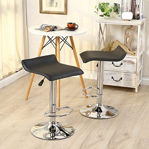 Allura Pair Bombo Chair Modern Bar Stools PU Leather Adjustable Hydraulic Swivel Seat Stool Pub Cafe Coffeehouse Kitchen Dinning Chair Barstool | Black