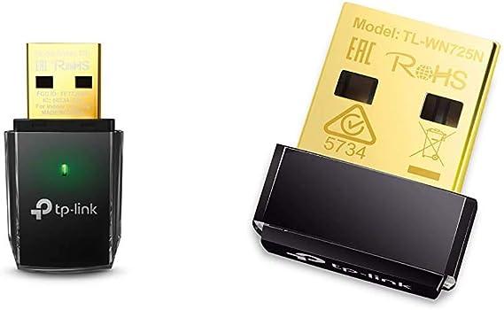 TP-Link Archer T2U Adaptador WiFi USB, Receptor WiFi con Doble Banda AC 600 MBps + TL-WN725N Adaptador WiFi USB inalámbrico Nano, Compatible con ...