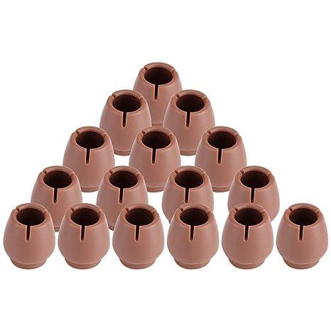 Tapacubos antideslizantes para patas de silla, PVC, color marrón, antiarañazos, 16 unidades