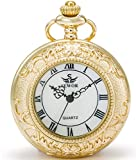 SEWOR Quartz Pocket Watch Shell Dial Magnifier Case With Two Type Chain (Leather+Metal) (Gold)