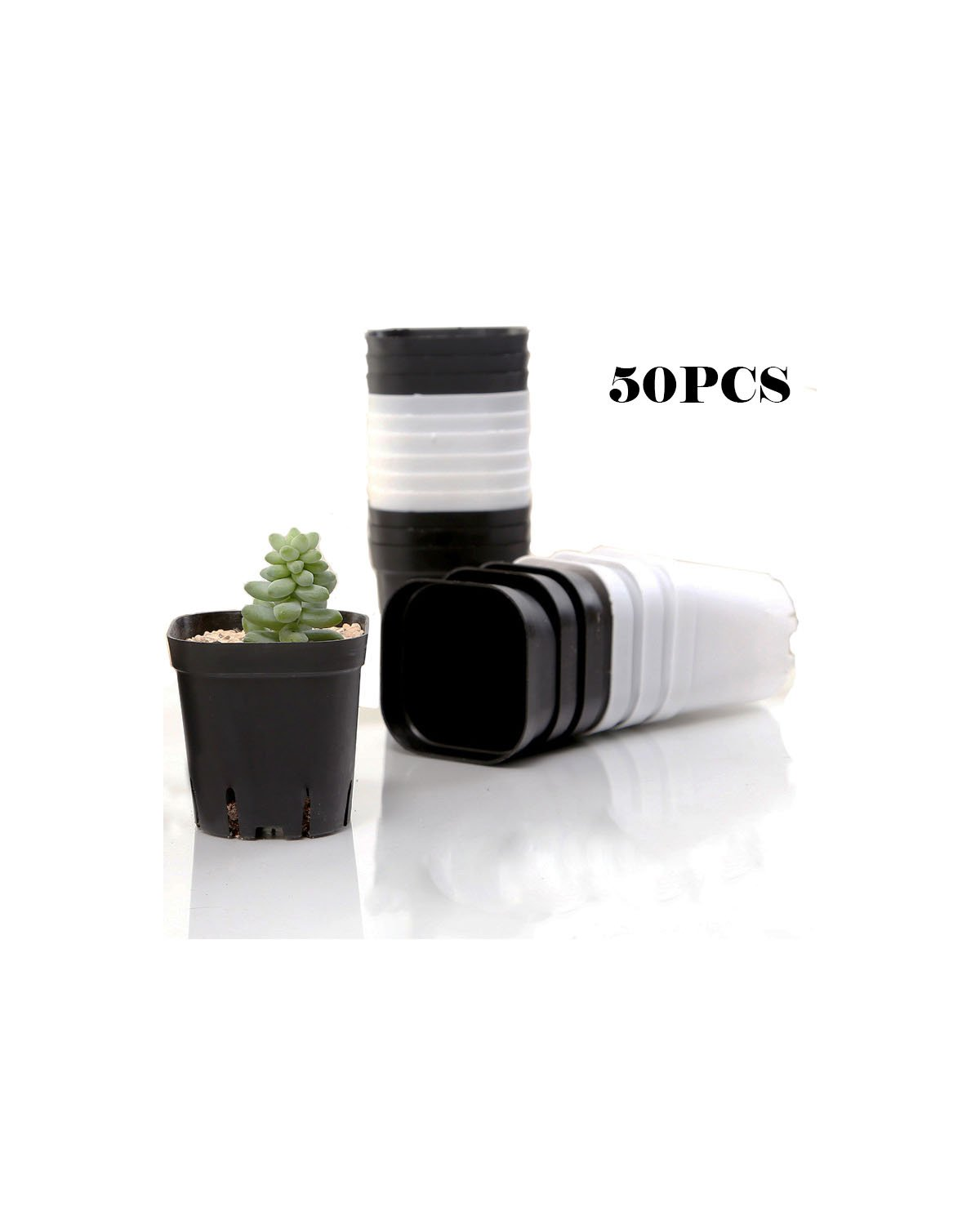 Finico 50pcs Square Nursery Pot /2.75'' Square for Seed Germination, Soil & Hydroponics, Planting Starter Plugs