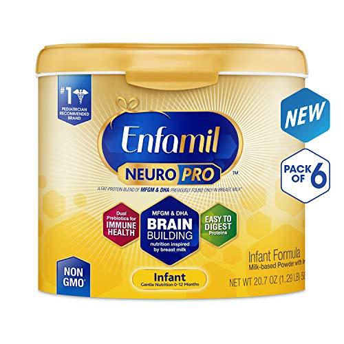 Enfamil NeuroPro Infant Formula - Brain Building Nutrition Inspired by Breast Milk - Reusable Powder Tub, 20.7 oz (Pack of 6)