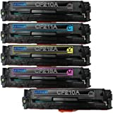 1 Pack + 1 Black of Total 5 Replacement toner cartridges for 131A Toner Cartridges CF210A CF211A CF213A CF212A Combo Pack, Office Central