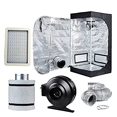 "TopoLite Grow Tent Room Complete Kit Hydroponic Growing System LED 300W Grow Light + 4"" Carbon Filter Combo + 24""x24""x48""/ 32""x32""x63""/ 36""x20""x63"""