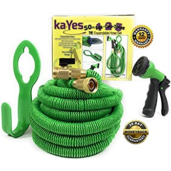 kayes expandable hose kink tangle free garden hose storage hanger lawn spray nozzle 3 pc set solid copper brass fittings steel clamp strong flexible - Garden Hose Storage