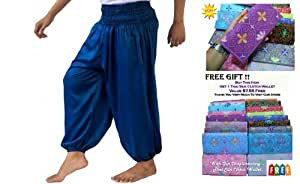 "(FREE SIZE FIT FOR 27"" - 39"")Genuine Cotton Rayon Harem Genie Yoga Pants Aladdin Hippie Baggy Trousers FREE SIZE With Complimentary"