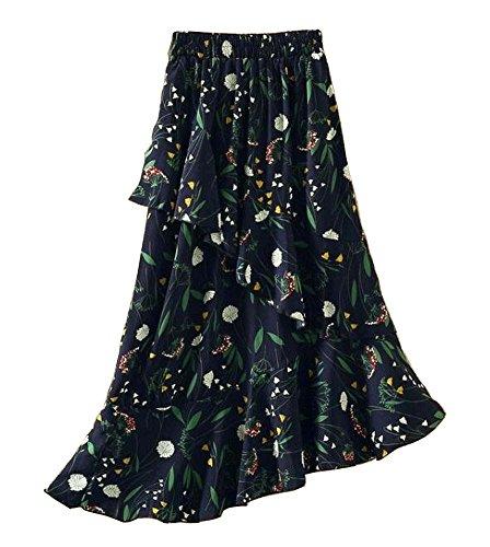 Black Temptation Femmes taille lastique Jupe en mousseline irrgulire jupe sirne, Noir Multicolore 03