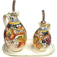 CERAMICHE D'ARTE PARRINI - Italian Ceramic Set Cruet Oil And Vinegar Art Pottery Hand Painted Made in ITALY Tuscan