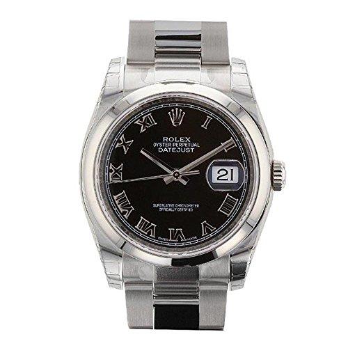Rolex Datejust 36 Mm Black Roman Dial Men's Watch 116200