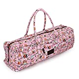 DOHOT Cotton Canvas Yoga Mat Bag with Pocket & Zipper for Yoga Mat and Gym Mat up to a 26 Inch Wide Mat, Pink Owl