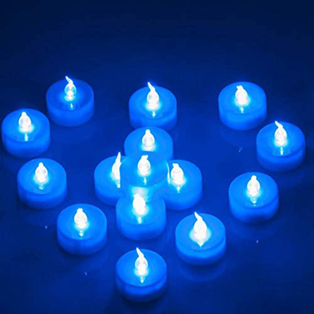 Flameless LED Tealight,Set of 24,Realistic Blue Flickering LED Candle with Timer,Battery Operated Flickering LED Candle for Halloween,Wedding,Christmas,Table Dinning,Home Decor