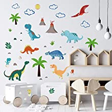 decalmile Colorful Dinosaur Wall Decals Kids Wall Stickers Baby Nursery Children Bedroom Wall Decor