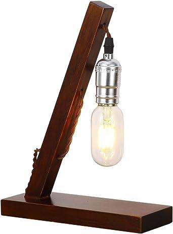 INJUICY Vendimia Edison Madera Lámpara de Escritorio Antiguo ...