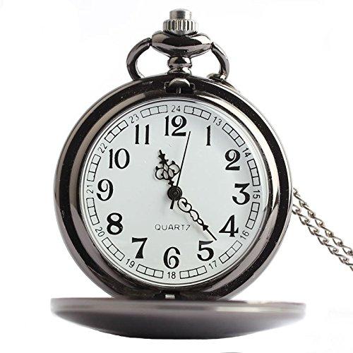 joielavie Vintage reloj de bolsillo árabe numeral cuarzo simple largo collar Mental de concha de suave