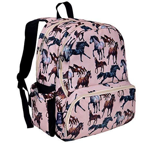 Horse Backpack - Wildkin 17 Inch Backpack, Durable Backpack with Padded Straps, Three Zippered Compartments, Moisture-Resistant Lining, and Two Side Pockets – Horse Dreams