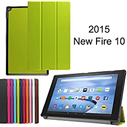 "X-Tablet Amazon Fire HD 10 (10.1"" HD Display 5th Generation-2015 release) Case - Slim Lightweight Standing Custom Fit Cover [Auto Sleep / Wake up] for Amazon Fire HD 10 Tablet (green)"