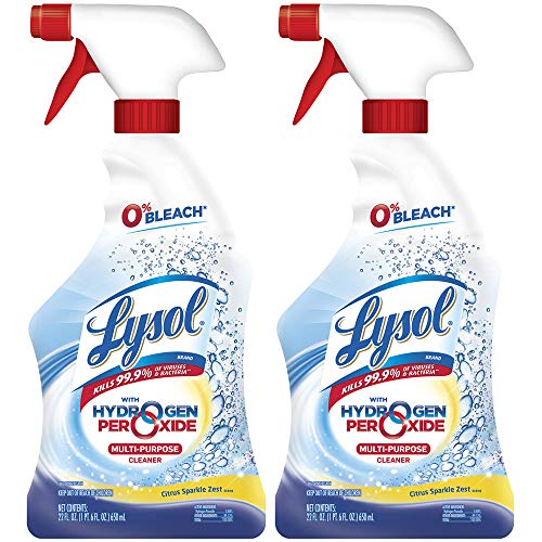 Lysol Bleach Free Hydrogen Peroxide Multi-Purpose Cleaner Spray, Citrus, 22 oz (Pack of 2)